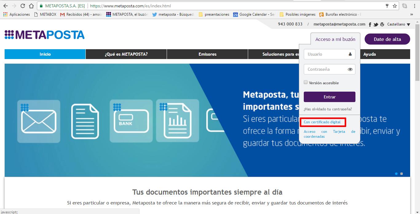 acceso con certificado digital metaposta