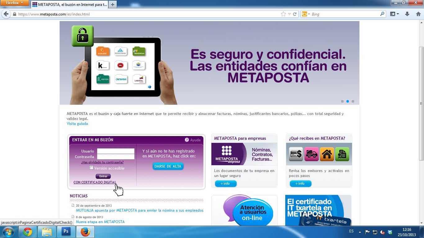 Acceder a Metaposta con certificado digital